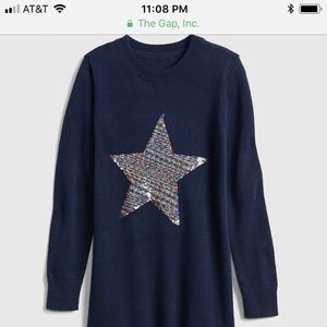 Kids Flippy Sequin Star Sweater Dress